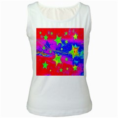 Red Background With A Stars Women s White Tank Top by Amaryn4rt