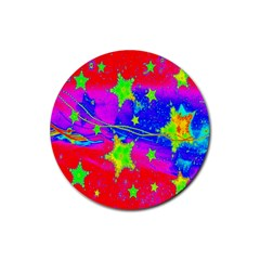 Red Background With A Stars Rubber Coaster (round)  by Amaryn4rt