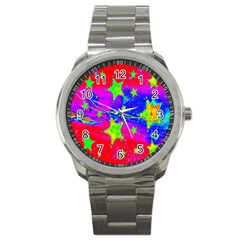 Red Background With A Stars Sport Metal Watch by Amaryn4rt