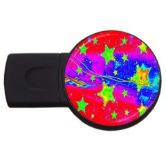 Red Background With A Stars Usb Flash Drive Round (4 Gb)