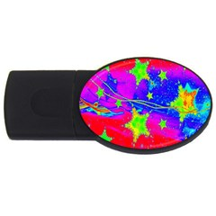 Red Background With A Stars Usb Flash Drive Oval (4 Gb) by Amaryn4rt
