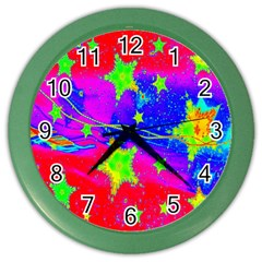 Red Background With A Stars Color Wall Clocks by Amaryn4rt