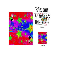 Red Background With A Stars Playing Cards 54 (mini)  by Amaryn4rt