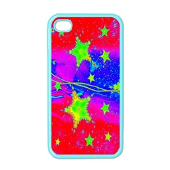 Red Background With A Stars Apple Iphone 4 Case (color) by Amaryn4rt