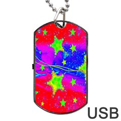 Red Background With A Stars Dog Tag Usb Flash (one Side) by Amaryn4rt
