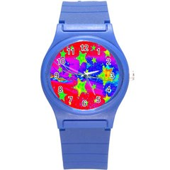 Red Background With A Stars Round Plastic Sport Watch (s) by Amaryn4rt