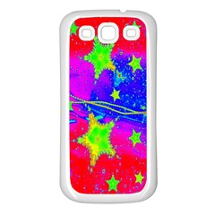 Red Background With A Stars Samsung Galaxy S3 Back Case (white) by Amaryn4rt