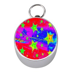 Red Background With A Stars Mini Silver Compasses by Amaryn4rt