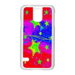 Red Background With A Stars Samsung Galaxy S5 Case (white) by Amaryn4rt