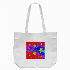 Red Background With A Stars Tote Bag (white) by Amaryn4rt