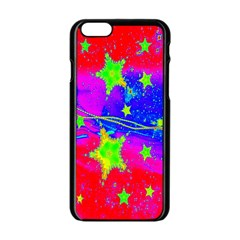 Red Background With A Stars Apple Iphone 6/6s Black Enamel Case by Amaryn4rt