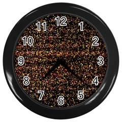Colorful And Glowing Pixelated Pattern Wall Clocks (black) by Amaryn4rt