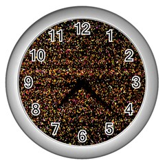 Colorful And Glowing Pixelated Pattern Wall Clocks (silver)  by Amaryn4rt