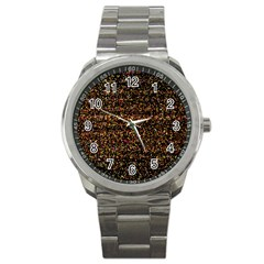 Colorful And Glowing Pixelated Pattern Sport Metal Watch by Amaryn4rt