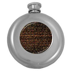 Colorful And Glowing Pixelated Pattern Round Hip Flask (5 Oz) by Amaryn4rt