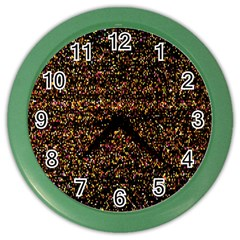 Colorful And Glowing Pixelated Pattern Color Wall Clocks by Amaryn4rt