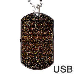 Colorful And Glowing Pixelated Pattern Dog Tag Usb Flash (one Side) by Amaryn4rt