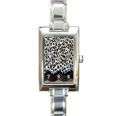 Tiger Background Fabric Animal Motifs Rectangle Italian Charm Watch by Amaryn4rt
