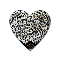 Tiger Background Fabric Animal Motifs Heart Magnet by Amaryn4rt