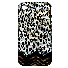 Tiger Background Fabric Animal Motifs Apple Iphone 4/4s Hardshell Case (pc+silicone) by Amaryn4rt