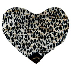 Tiger Background Fabric Animal Motifs Large 19  Premium Heart Shape Cushions by Amaryn4rt