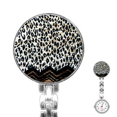 Tiger Background Fabric Animal Motifs Stainless Steel Nurses Watch by Amaryn4rt