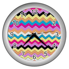 Chevrons Pattern Art Background Wall Clocks (silver)  by Amaryn4rt