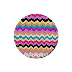 Chevrons Pattern Art Background Rubber Round Coaster (4 Pack)  by Amaryn4rt