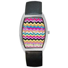 Chevrons Pattern Art Background Barrel Style Metal Watch by Amaryn4rt