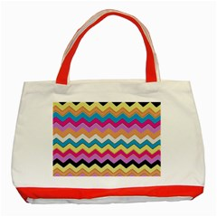 Chevrons Pattern Art Background Classic Tote Bag (red) by Amaryn4rt