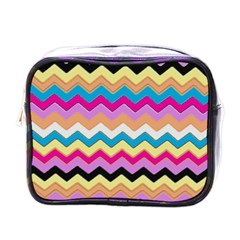 Chevrons Pattern Art Background Mini Toiletries Bags by Amaryn4rt