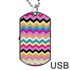 Chevrons Pattern Art Background Dog Tag Usb Flash (one Side) by Amaryn4rt