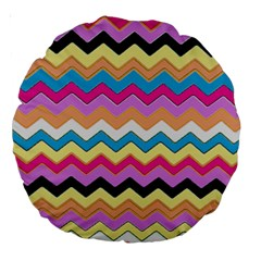 Chevrons Pattern Art Background Large 18  Premium Round Cushions by Amaryn4rt
