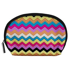 Chevrons Pattern Art Background Accessory Pouches (large)  by Amaryn4rt