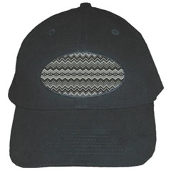 Greyscale Zig Zag Black Cap by Amaryn4rt