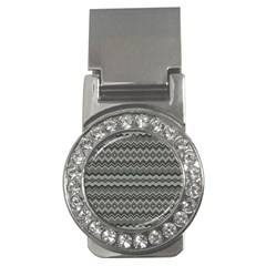 Greyscale Zig Zag Money Clips (cz)  by Amaryn4rt