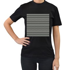 Greyscale Zig Zag Women s T Shirt (black) (two Sided)