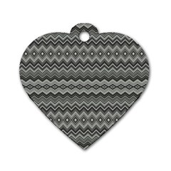 Greyscale Zig Zag Dog Tag Heart (two Sides) by Amaryn4rt