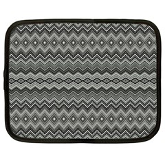 Greyscale Zig Zag Netbook Case (large) by Amaryn4rt