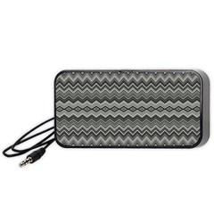 Greyscale Zig Zag Portable Speaker (black) by Amaryn4rt
