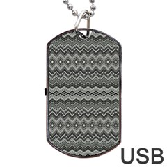 Greyscale Zig Zag Dog Tag Usb Flash (two Sides) by Amaryn4rt