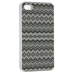 Greyscale Zig Zag Apple Iphone 4/4s Seamless Case (white) by Amaryn4rt