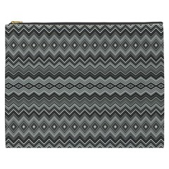 Greyscale Zig Zag Cosmetic Bag (xxxl)  by Amaryn4rt