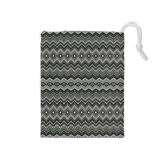 Greyscale Zig Zag Drawstring Pouches (medium)  by Amaryn4rt