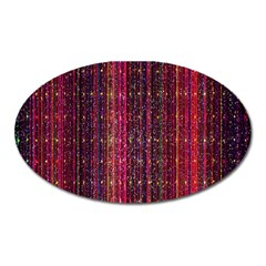 Colorful And Glowing Pixelated Pixel Pattern Oval Magnet by Amaryn4rt