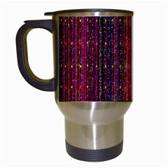 Colorful And Glowing Pixelated Pixel Pattern Travel Mugs (white) by Amaryn4rt