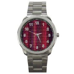 Colorful And Glowing Pixelated Pixel Pattern Sport Metal Watch by Amaryn4rt