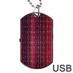 Colorful And Glowing Pixelated Pixel Pattern Dog Tag Usb Flash (two Sides) by Amaryn4rt
