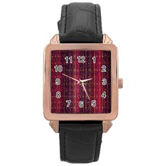 Colorful And Glowing Pixelated Pixel Pattern Rose Gold Leather Watch