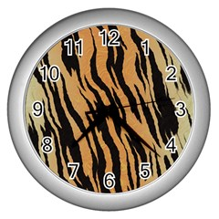 Tiger Animal Print A Completely Seamless Tile Able Background Design Pattern Wall Clocks (silver)  by Amaryn4rt